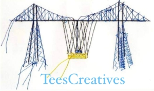 Machine sewn image of the Transporter Bridge a local landmark of Middlesbrough it's logo for TeesCreatives Sewing School